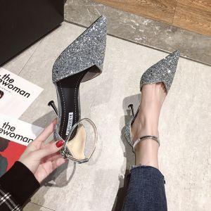 Scintillantes Argenté Soirée Chaussures Femmes 2020 Paillettes Bride Cheville 10 cm Talons Aiguilles À Bout Pointu Talons