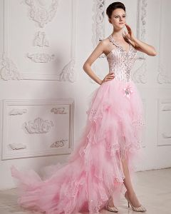 Organza Tulle Satin Ruffle Applique Beaded Halter Asymmetrical Prom Dresses