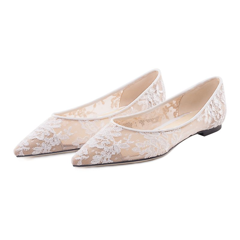 Modern Fashion Ivory Flat Wedding Shoes 2019 Leather Tulle Lace Flower Pointed Toe