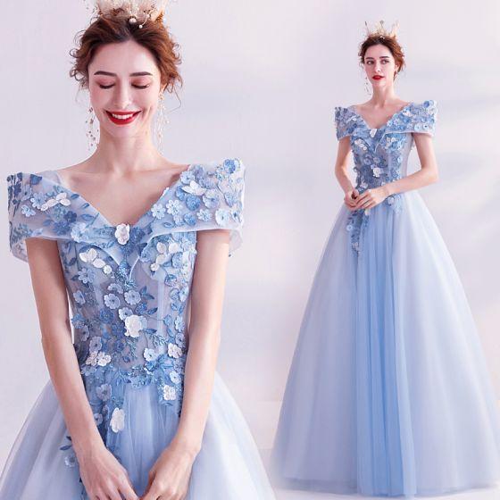 Conte de fée Bleu Ciel Robe De Bal 2020 Princesse V-Cou Appliques Perle En Dentelle Fleur Manches Courtes Dos Nu Longue Robe De Ceremonie