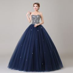 Classic Navy Blue Prom Dresses 2019 Ball Gown Sweetheart Beading Crystal Sequins Sleeveless Backless Floor-Length / Long Formal Dresses