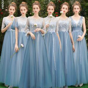 Discount Sky Blue Bridesmaid Dresses 2019 A-Line / Princess Sash Appliques Lace Floor-Length / Long Backless Wedding Party Dresses