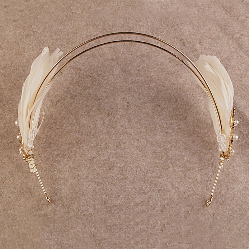 Modern / Fashion Gold Bridal Jewelry 2017 Metal Beading Feather Pierced Headpieces Wedding Prom Accessories