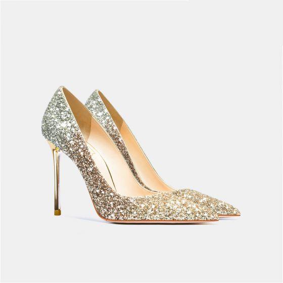 Charmig Guld Paljetter Bröllop Pumps 2021 Läder 10 cm Stilettklackar Spetsiga Pumps