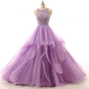 Romantic Lilac Prom Dresses Ball Gown Scoop Neck Sleeveless Backless Spaghetti Straps Organza Formal Dresses