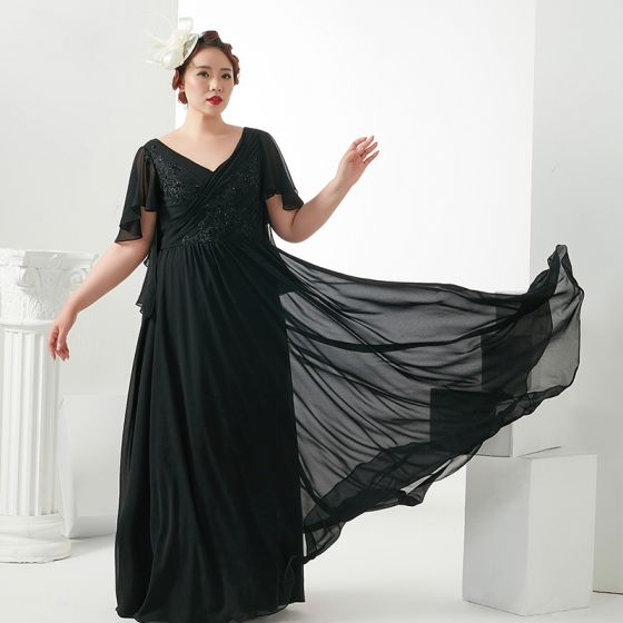 Clásico Elegantes Talla Extra Vestidos De Noche 2018 V Cuello A Line Princess Gasa Negro Cremallera Para Arriba Apliques Sin Espalda Rebordear Noche