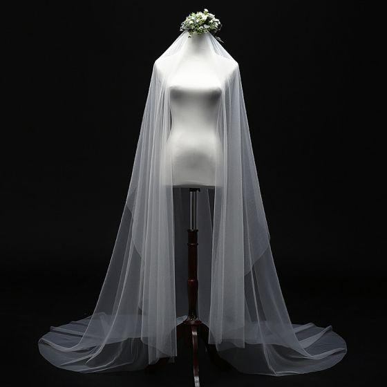 Proste / Simple Kość Słoniowa 3 m Welony Ślubne Eleganckie Klasyczna Tiulowe Trenem Kaplica Ślub Akcesoria 2019