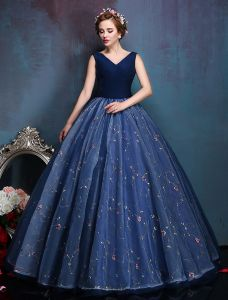 Glamorous V-neck Applique Flowers Royal Blue Organza Prom Dress 2016