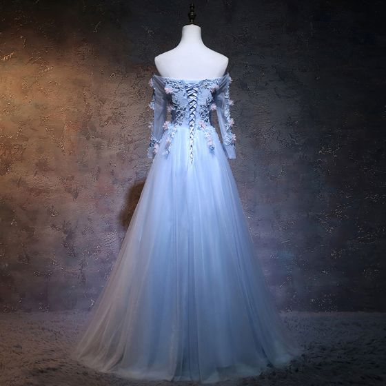 Elegant Sky Blue Prom Dresses 2018 A-Line / Princess Off-The-Shoulder Long Sleeve Appliques Lace Flower Pearl Sash Floor-Length / Long Ruffle Backless Formal Dresses