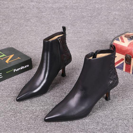Mote Vinter Svart Gateklær Lær Kvinners støvler 2021 Ankel 6 cm Stiletthæler Spisse Boots