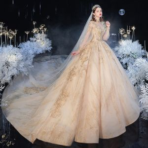 Victorian Style Champagne See-through Bridal Wedding Dresses 2020 Ball Gown High Neck Puffy Long Sleeve Backless Glitter Tulle Sequins Appliques Lace Beading Cathedral Train Ruffle