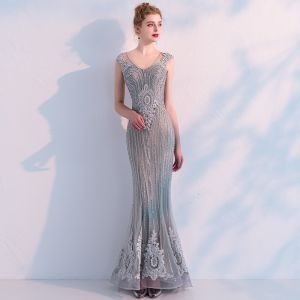 Luxury / Gorgeous Grey See-through Evening Dresses  2019 Trumpet / Mermaid V-Neck Sleeveless Beading Appliques Lace Sweep Train Ruffle Formal Dresses