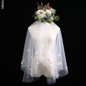 Blomsterfe Hvit Korte Brudeslør Appliques Blomst Chiffon Bryllup Tilbehør 2019