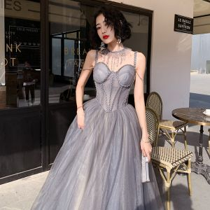 Classy Silver Corset Evening Dresses  2020 A-Line / Princess Spaghetti Straps Sleeveless Beading Glitter Tulle Sweep Train Ruffle Backless Formal Dresses