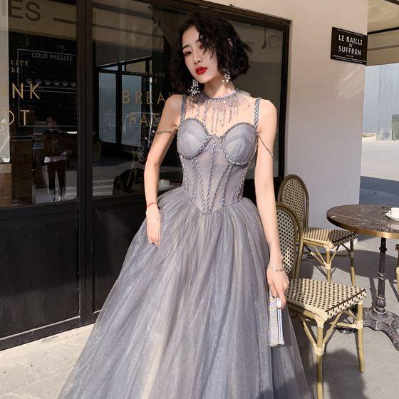 Classy Silver Corset Evening Dresses  2020 A-Line / Princess Spaghetti Straps Sleeveless Beading Glitter Tulle Sweep Train Ruffle Backless Formal Dresses