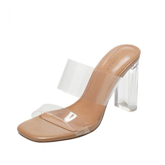 Sexy Transparent Tan Strassenmode Sandalen Damen 2020 9 cm Thick Heels Peeptoes Sandaletten