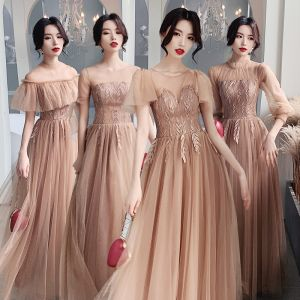 Affordable Champagne See-through Bridesmaid Dresses 2020 A-Line / Princess Appliques Lace Floor-Length / Long Backless Ruffle Wedding Party Dresses