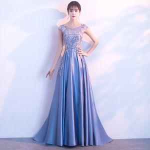Elegant Sky Blue Prom Dresses 2017 A-Line / Princess Scoop Neck Sleeveless Appliques Lace Rhinestone Floor-Length / Long Backless Formal Dresses