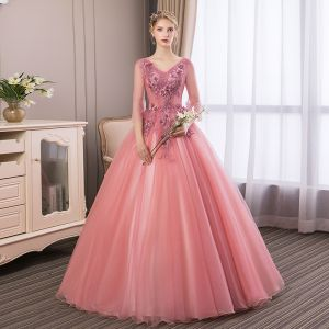 Affordable Candy Pink Prom Dresses 2018 Ball Gown Lace Flower Appliques Pearl Rhinestone V-Neck Backless 3/4 Sleeve Floor-Length / Long Formal Dresses