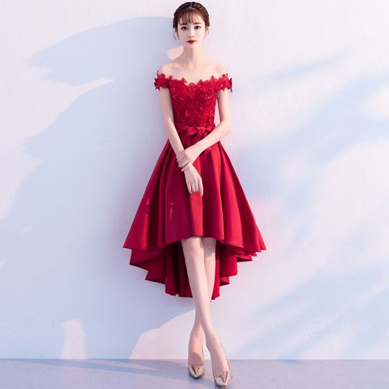 Classy Burgundy Cocktail Dresses 2019 A-Line / Princess Scoop Neck Lace Flower Appliques Pearl Sequins Bow Short Sleeve Asymmetrical Formal Dresses