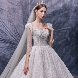 Vintage / Retro Champagne Bridal Wedding Dresses 2020 Ball Gown Square Neckline Puffy Detachable 3/4 Sleeve Backless Handmade  Beading Cathedral Train Ruffle
