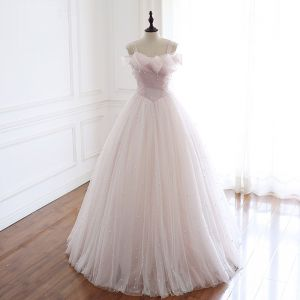 High-end Blushing Pink Pearl Wedding Dresses 2020 A-Line / Princess Square Neckline Sleeveless Backless Floor-Length / Long