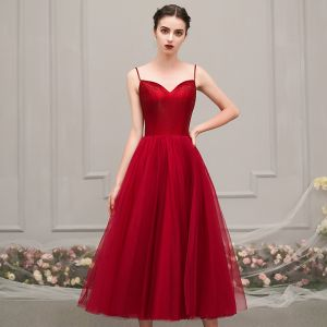 Chic / Beautiful Red Homecoming Graduation Dresses 2019 A-Line / Princess Spaghetti Straps Sleeveless Beading Tea-length Ruffle Backless Formal Dresses