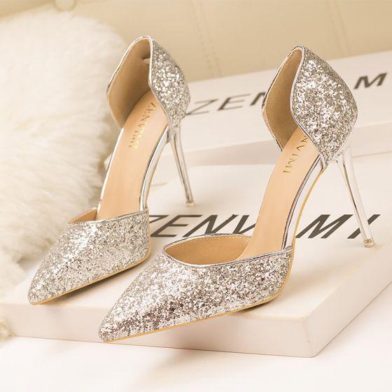 Encantador Plata Noche Lentejuelas Zapatos De Mujer 2020 10 cm Stilettos / Tacones De Aguja Punta Estrecha High Heels