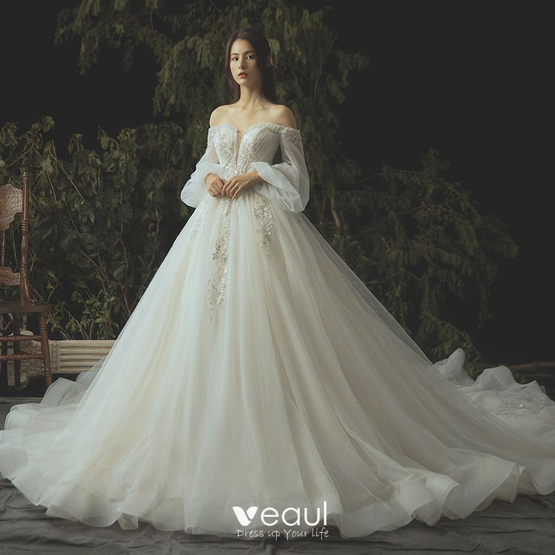 Long Sleeve Lace Wedding Dresses Ball Gown Backless: Luxury / Gorgeous Ivory Wedding Dresses 2019 Ball Gown