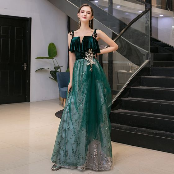 Chic / Beautiful Dark Green Suede Evening Dresses  2020 A-Line / Princess Spaghetti Straps Sleeveless Sequins Glitter Tulle Floor-Length / Long Ruffle Backless Formal Dresses