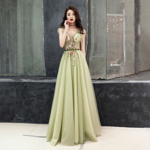 Illusion Sage Green See-through Evening Dresses  2019 A-Line / Princess V-Neck Sleeveless Appliques Flower Bow Sash Floor-Length / Long Ruffle Backless Formal Dresses