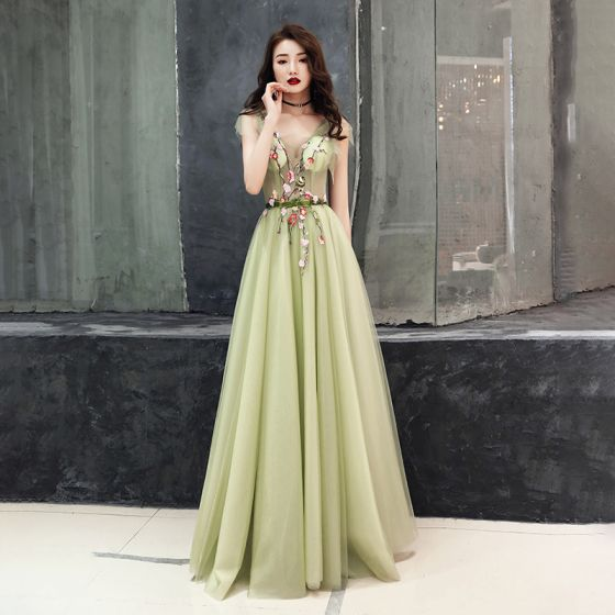 dfdab00dc3 Illusion Sage Green See-through Evening Dresses 2019 A-Line   Princess  V-Neck Sleeveless Appliques Flower ...
