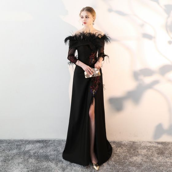 Chic / Beautiful Black Evening Dresses  2018 A-Line / Princess Lace Feather Sequins Off-The-Shoulder 3/4 Sleeve Split Front Sweep Train Formal Dresses