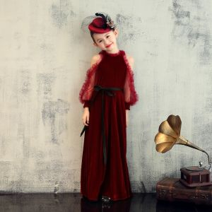 Elegant Burgundy Velour Birthday Flower Girl Dresses 2020 Sheath / Fit Scoop Neck Puffy Long Sleeve Sash Floor-Length / Long