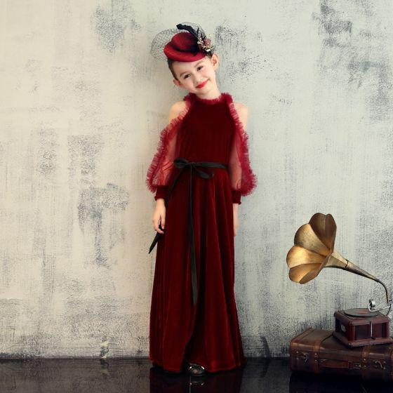 Elegant Burgundy Velour Birthday Flower Girl Dresses 2020 Sheath / Fit Scoop Neck Puffy Long Sleeve Sash Floor-Length / Long