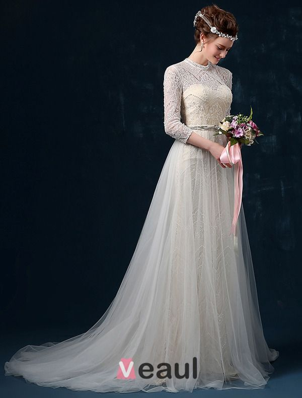 2015 A-line Shoulders High Grade Lace Beading Pearl Rhinestone Sash Silk Satin Wedding Dress