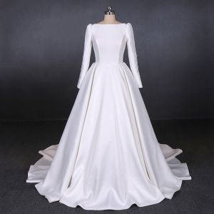 Modest / Simple White Satin Bridal Wedding Dresses 2020 A-Line / Princess Square Neckline Long Sleeve Backless Chapel Train Ruffle