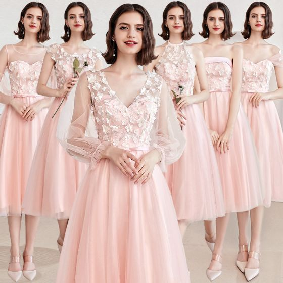 Affordable Pearl Pink Bridesmaid Dresses 2019 A-Line / Princess Appliques Lace Sash Short Backless Wedding Party Dresses