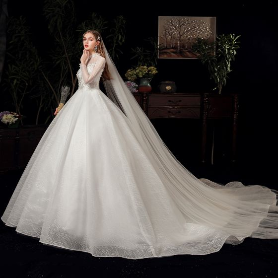 Vintage / Retro Ivory See-through Bridal Wedding Dresses 2020 Ball Gown High Neck 3/4 Sleeve Backless Appliques Lace Beading Glitter Tulle Chapel Train Ruffle