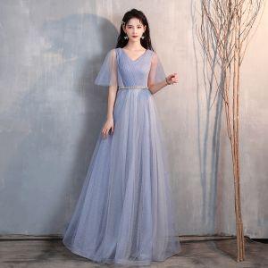 Chic / Belle Bleu Ciel Glitter Robe De Soirée 2020 Princesse V-Cou Faux Diamant Ceinture 1/2 Manches Dos Nu Longue Robe De Ceremonie