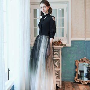 Mode Schwarz Farbverlauf Abendkleider 2020 A Linie V-Ausschnitt Schleife 1/2 Ärmel Lange Festliche Kleider