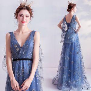 Mode Meeresblau Ballkleider 2020 A Linie V-Ausschnitt Glanz Star Pailletten Ärmellos Rückenfreies Lange Festliche Kleider
