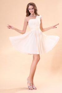 2015 Perfect Pink Sleeveless One-shoulder Bridesmaid Dresses
