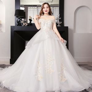 Romantic White Ball Gown Plus Size Wedding Dresses 2019 Lace Tulle Backless Beading Strapless Chapel Train Wedding