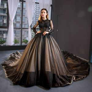 Luxury / Gorgeous Black Prom Dresses 2019 A-Line / Princess Scoop Neck Lace Flower Long Sleeve Cathedral Train Formal Dresses