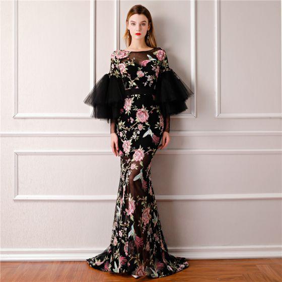 Moderne / Mode Noire Été Transparentes Robe De Soirée 2019 Princesse  Encolure Dégagée Gonflée Manches Longues Brodé