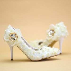 Luxury / Gorgeous Champagne Lace Wedding High Heels 8 cm Appliques Beading Pearl Pointed Toe Wedding Shoes 2018