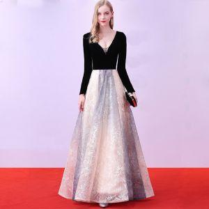 Chic / Belle Noire Robe De Soirée 2018 Princesse Longue Tulle V-Cou Perlage Impression Soirée Robe De Ceremonie