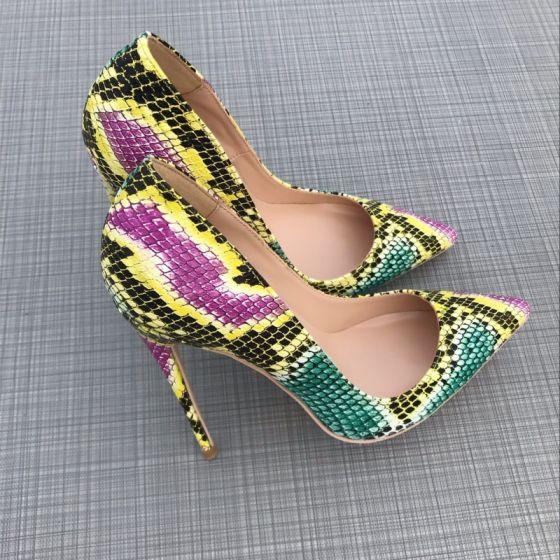 Amazing / Unique Multi-Colors Rave Club Pumps 2019 Leather Snakeskin Print 12 cm Stiletto Heels Pointed Toe Pumps