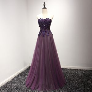 Chic / Beautiful Formal Dresses 2017 Grape A-Line / Princess Floor-Length / Long Strapless Sleeveless Backless Lace Appliques Beading Evening Dresses
